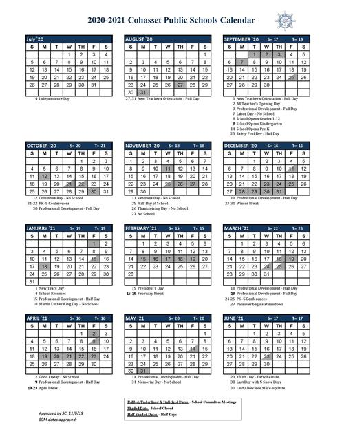 District Calendar & Holidays 2020 2021   Approved by SC 5/6/2020